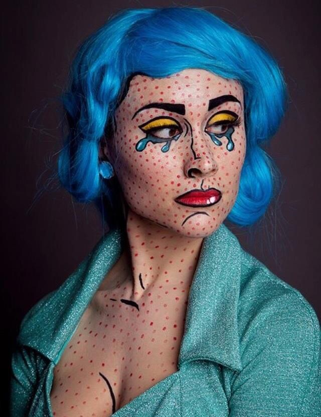 girl with blue wig & face with pop art design