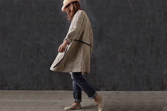 Linen coat Natural linen Long linen jacket Washed linen
