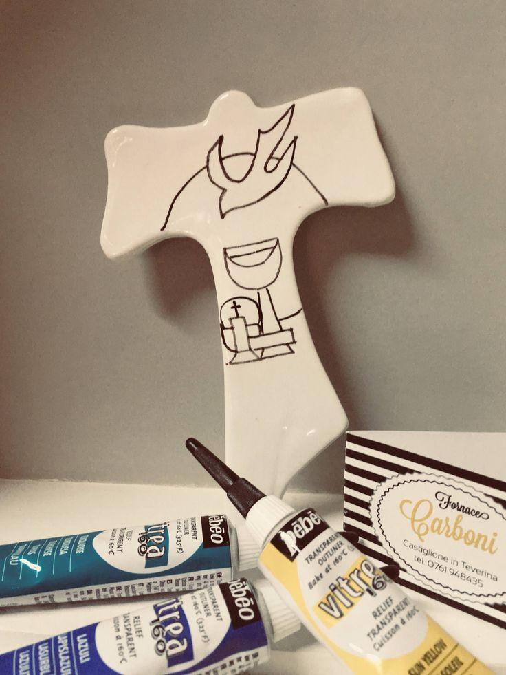 Bomboniera tau san Francesco in ceramica con colomba, per comunione.Personalizzabile da vs. Figlio colorando sopra lui stesso.