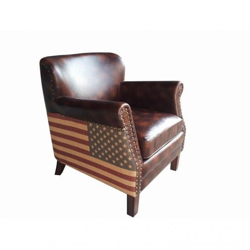 Klassisk fåtölj med nitar i bonded leather - vintage style med amerikanska flaggan.