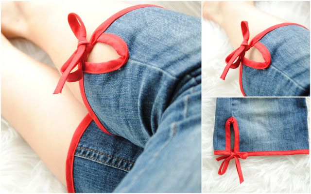 Cute way to upcycle denim jeans into capri style pants!