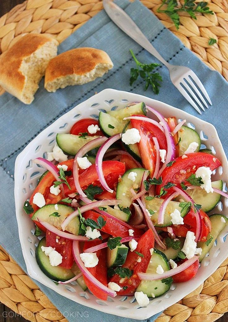 The Comfort of Cooking » Easy Tomato, Cucumber and Red Onion Salad