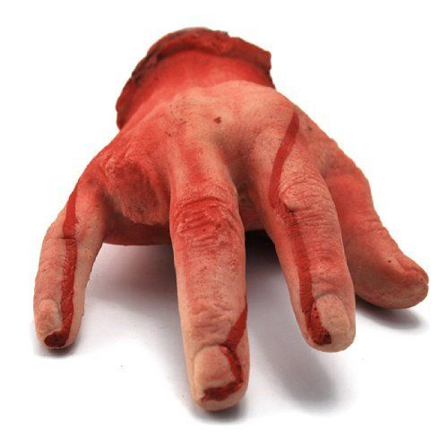 """Custom Halloween Haunted House Yard Prop Blood Body Severed Human Male Hand Ring Finger Choppered by Astra Depot. $8.99. Made of High quality soft artificial rubber with synthetic cotton padding inside. Weight: Approx. L 9 3/8"""" x W 4 3/8"""" (23.5cm x 12cm ). Blood spattering and oozing. Realistically designed, painted and proportioned. Package includes: One piece of scary hand prop (missing the ring finger). You are buying a Brand new realistic men's blood severed ri..."""