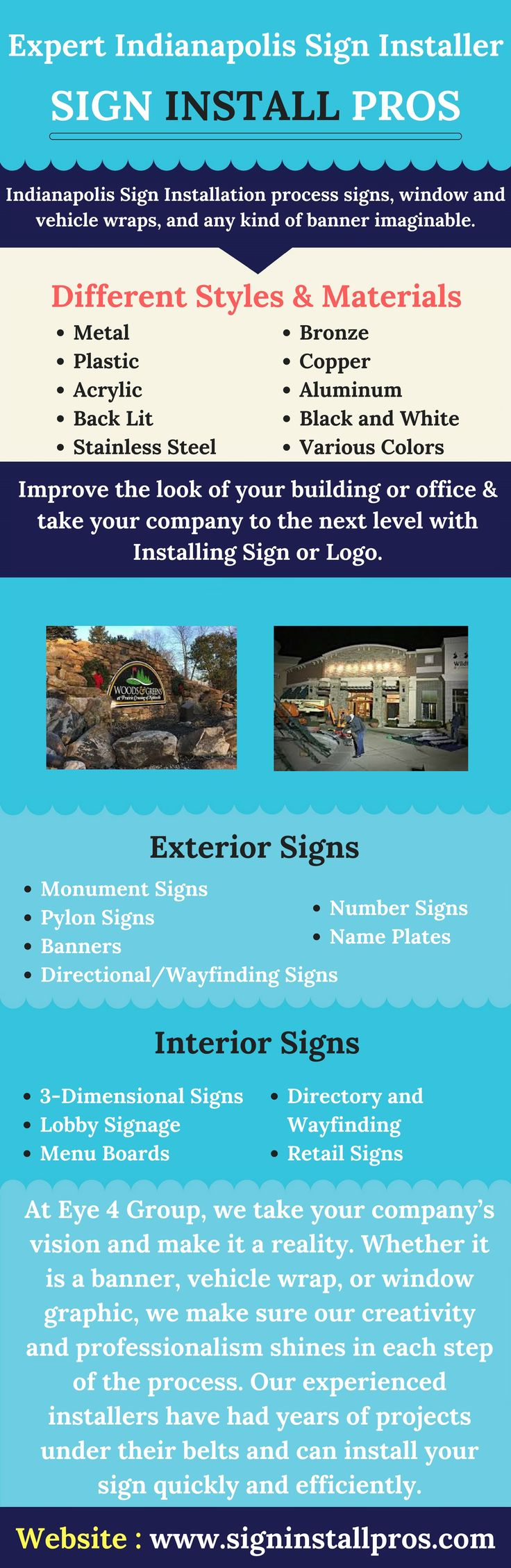 Sign Install Pros offer quality service for all of your Indianapolis Sign Installation and graphic wrap needs. The Company Indianapolis Sign Installation has over 20 years of combined experience in Sign installation. Know more. #SignInstaller #SignInstallPros