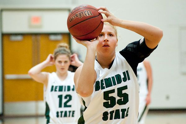 Emily Kaus preparing to shoot a 2-pointer in a game against Mayville State where the Bavers won 85-77! To read more go to http://www.bsubeavers.com/wbasketball/news/2012-13/6193/beavers-survive-late-surge-by-mayville-state-win-85-77/