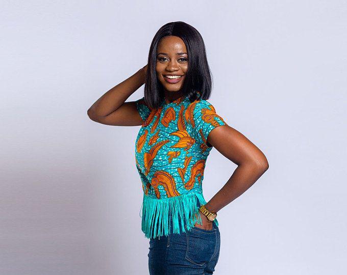 Ankara fringe top, Fringe top, Crop top, Crop fringe top, African print top, African clothing, Ankara top, Ankara clothing.