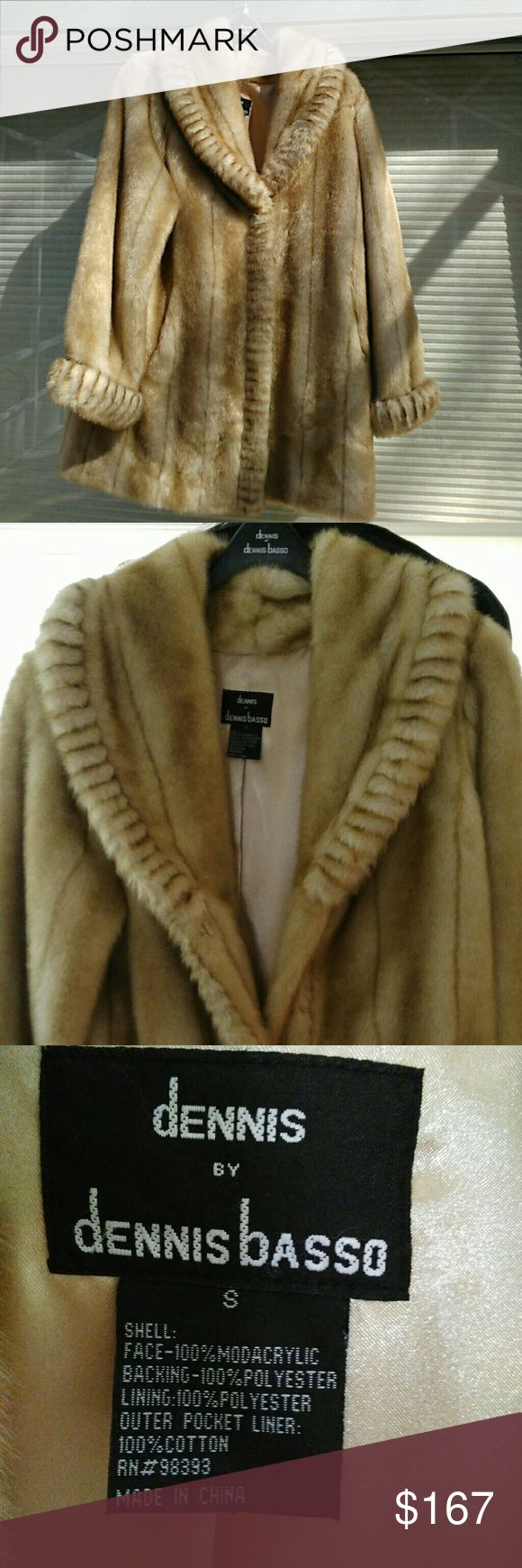 Dennis Basso faux fur with original bag tan cream Brand new with bag Dennis Basso tan/ cream faux fur coat. Size small. Can wear chunky sweaters underneath and still not be tight. Would also fit medium with thinner sweaters and tops. Brand new never worn. Length from shoulder 33 inches. Arm from top of shoulder 26. Not meant to fit tight so loose fit across chest. Buttons up . two outside pockets one inside pocket. Its a gorgeous idea for Valentine's Day gift for the special person in your…