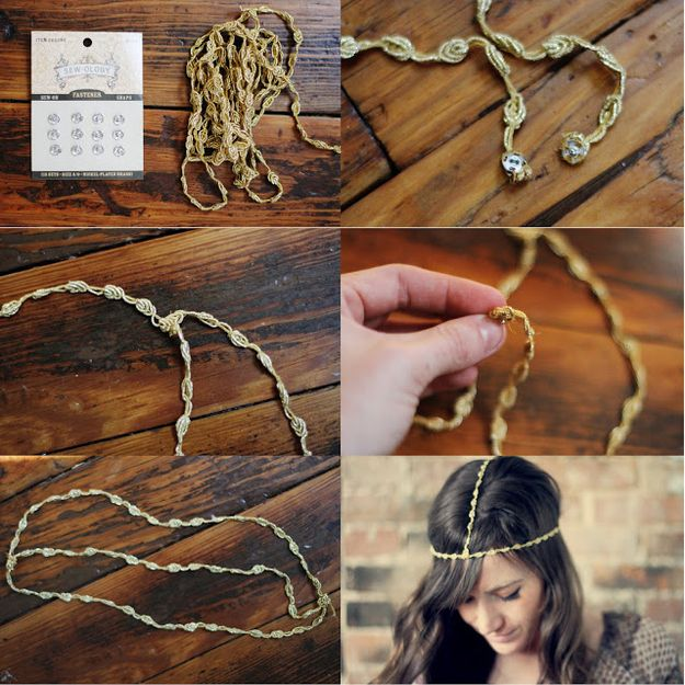 Make an inexpensive gypsy crown out of gold cord. | 47 DIYs For The Cash-Strapped Music Festival-Goer