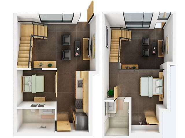 1.5 Bedroom/1.5 Bathroom Loft Apartment Floor Plan