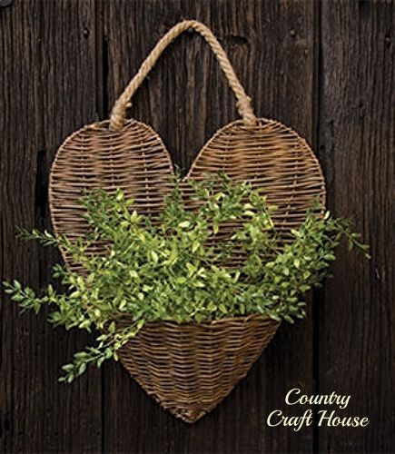 New Country Farmhouse Chic PEPPER GRASS Lg HEART WALL BASKET Vine Wreath Hanging