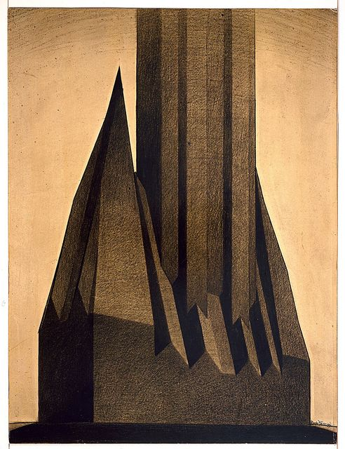 """Hugh Ferriss 1922 Drawing, """"Study for Maximum Mass Permitted by the 1916 New York Zoning Law"""""""