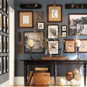 Slate blue walls with lots of frames and relics!!!!