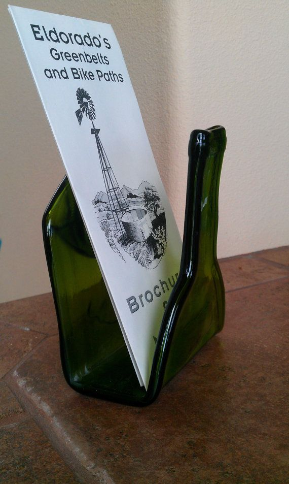 Recycled wine bottle business card holder brochure by HarrachGlass, $22.50  recycled wine bottle, recycled, wine bottle art,office accessories,glass art