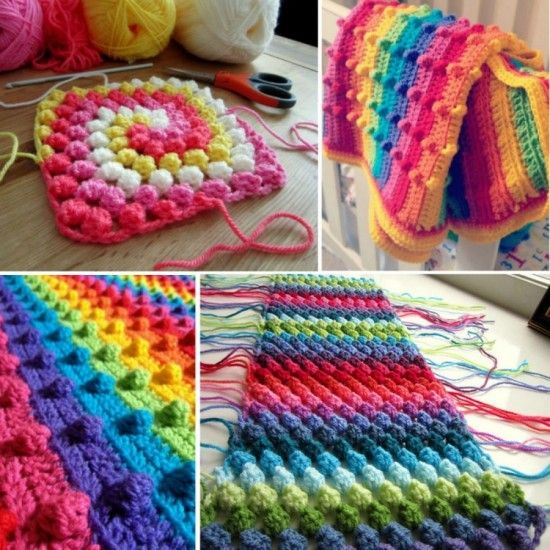 Crochet Bobble Stitch Rainbow Blanket FREE pattern #diy #crafts #crochet