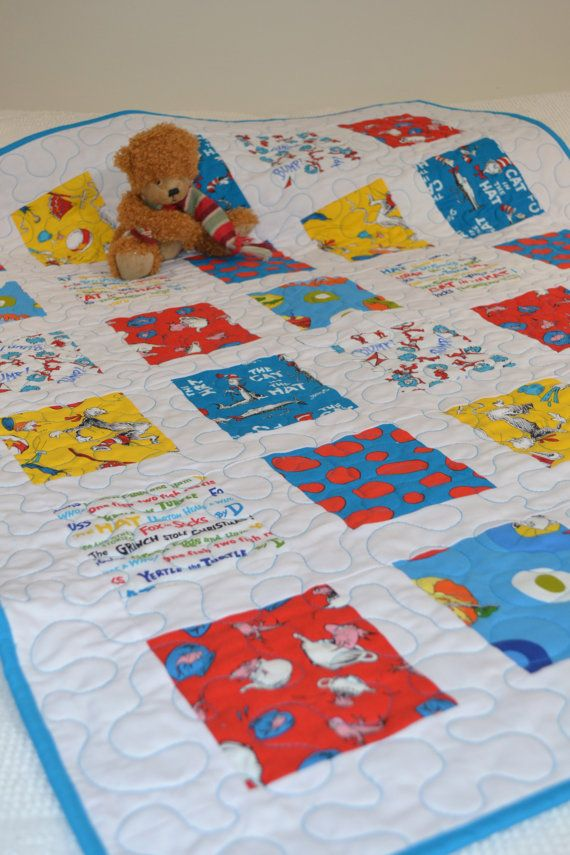 Baby boy quilt dr seuss fabric baby quilt turquoise for Boy nursery fabric