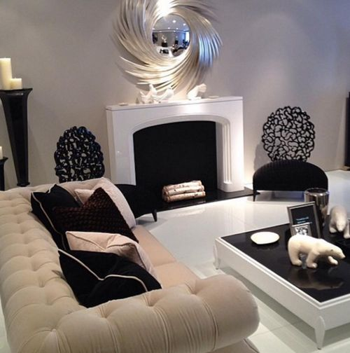 806 best home decor furniture images on pinterest for Black and cream living room ideas