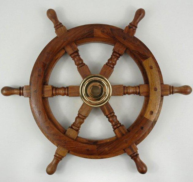 Ship Steering Wheel Wood 18 5in Paint Wheels And Living