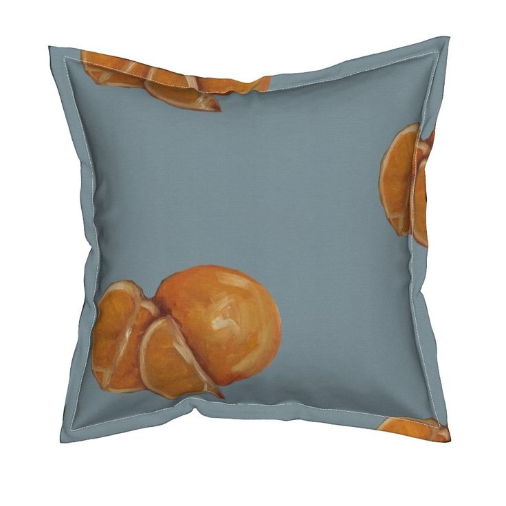 Serama Throw Pillow featuring Duck Egg and Oranges by traceyharveydesigns | Roostery Home Decor