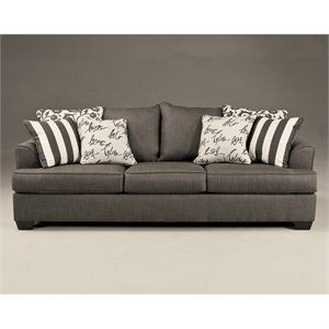 Signature Design by Ashley Furniture Levon Microfiber Sofa in Charcoal