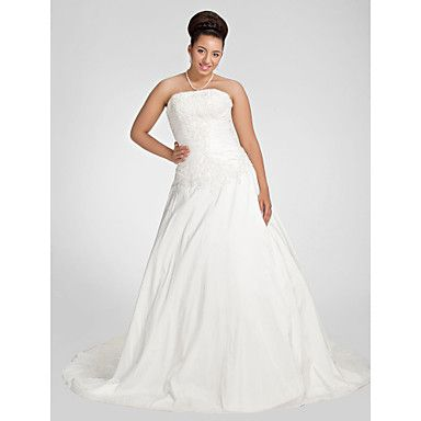 Lanting+Bride®+A-line+Petite+/+Plus+Sizes+Wedding+Dress+-+Chic+&+Modern+Fall+2013+Chapel+Train+Strapless+Taffeta+with+–+GBP+£+118.99