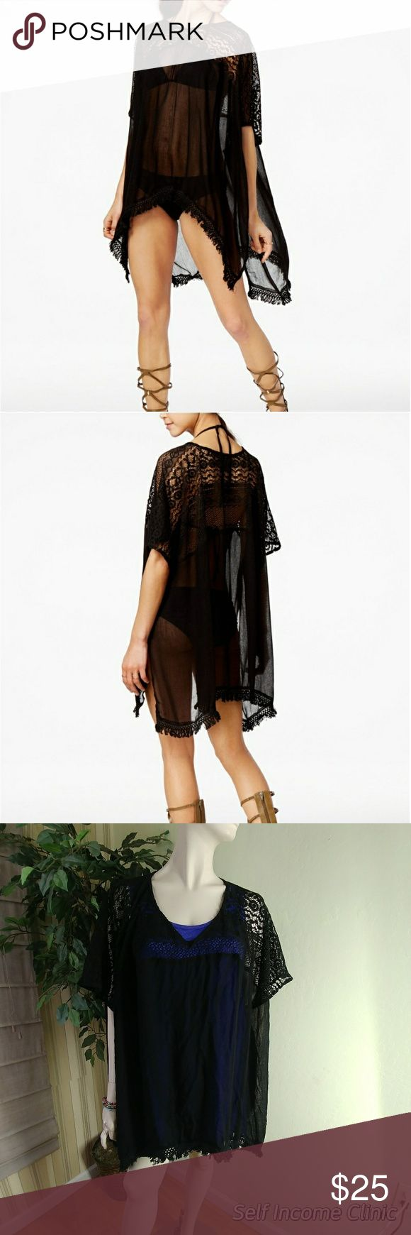 "Steve Madden Crochet Cover-Up Peak-a-Boo Poncho Steve Madden Crochet Cover-Up, one size fits most, color black, poncho style, trimmed in breezy fringe, crochet details at shoulder and hem, 2"" tassels, measure's 38"" x 28.5"" made of viscose, cotton and nylon, compare $39.00 retail value comes new with tag as closeout merchandise in good condition. Steve Madden Swim Coverups"