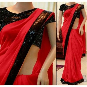 Georgette Lace Work Red Plain Saree - B002