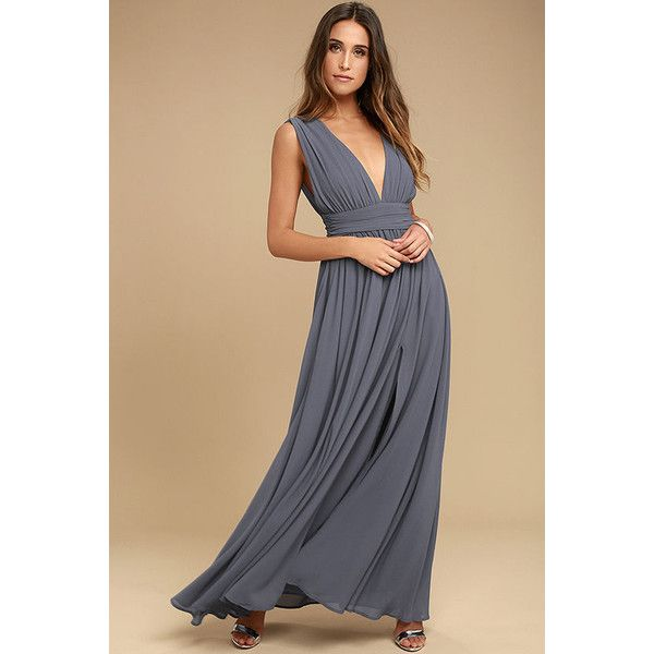 Heavenly Hues Denim Blue Maxi Dress ($84) ❤ liked on Polyvore featuring dresses, blue, sexy cocktail dresses, blue cocktail dresses, sexy dresses, blue maxi skirt and v-neck maxi dresses