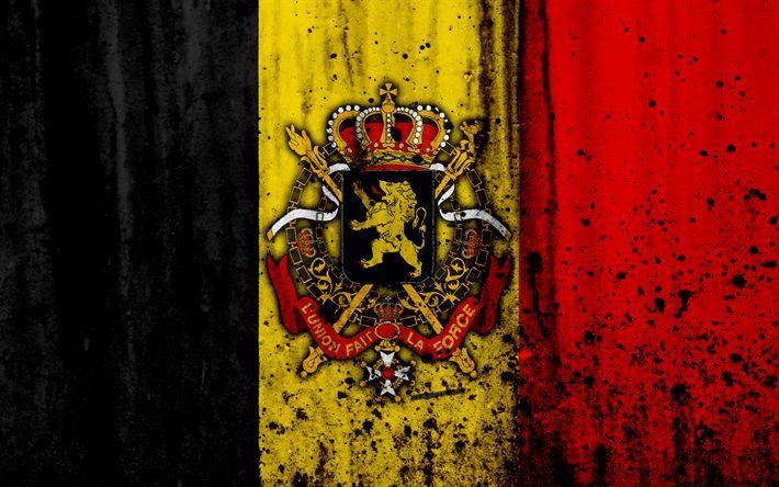 Download wallpapers Belgian flag, 4k, grunge, flag of Belgium, Europe, national symbols, Belgium, coat of arms of Belgium