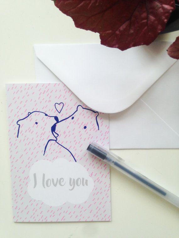 Carte de voeux I love you ours bleue et rose