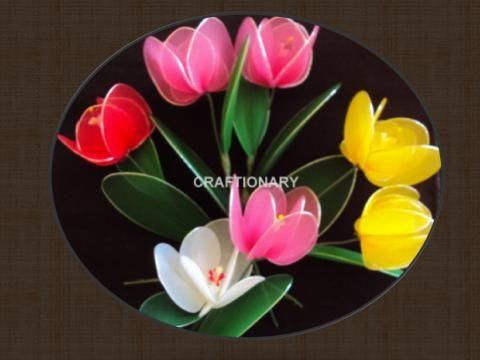 FREE PHOTO TUTORIAL ~ How to make nylon flower Tulips