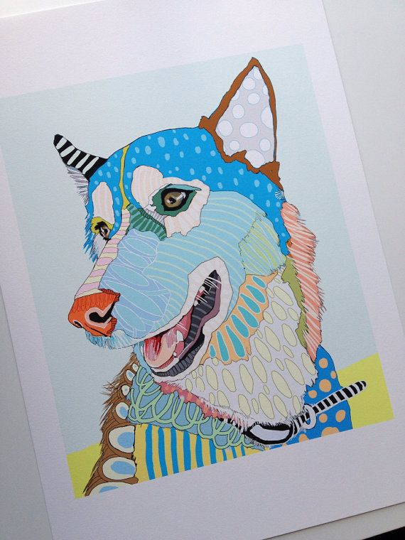 Unique custom pet portrait. I like all the different colors and lines.