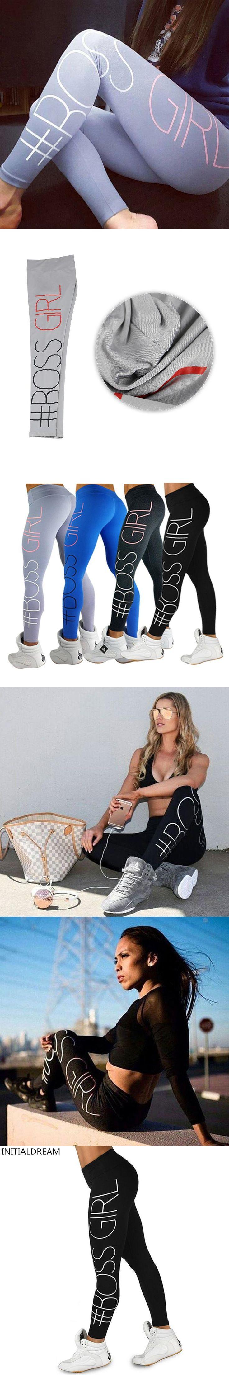 New Women's Fitness Leggings High Elastic Boss Girl Printing Workout Women Slim Trousers Breathable Legging Bodybuilding Clothes