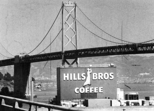 The Hills Brothers Coffee factory with the Bay Bridge in the
