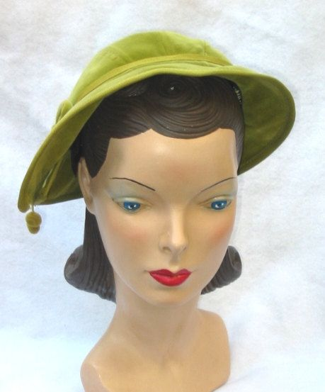 Free Shipping 1960's Vintage Velvet Lime Green Hat with Bow And Pom Poms    for sale at MyVintageHatShop on etsy