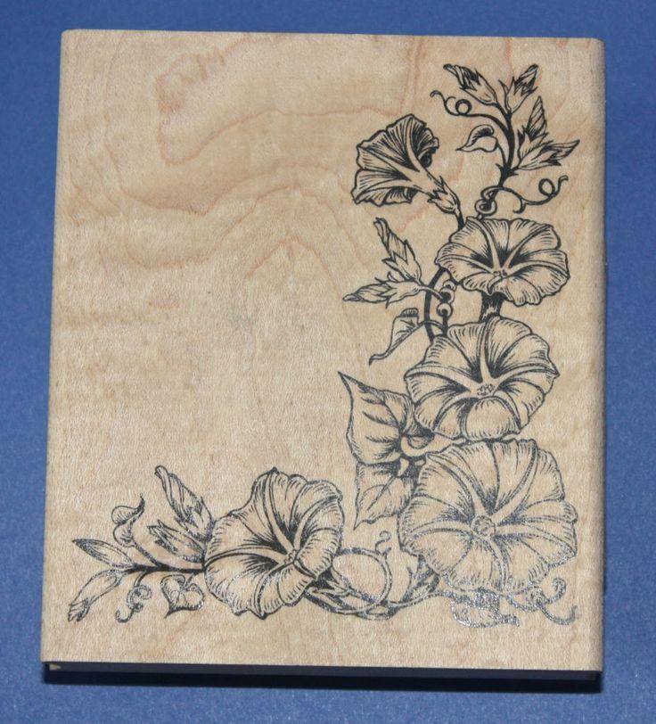 NEW Inkadinkado  Morning Glory  Wooden Backed Rubber Stamp 97772P