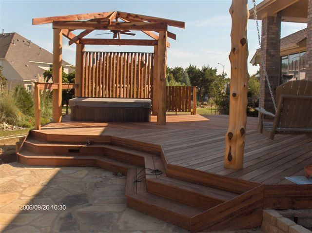 Outdoor-Privacy-Screens-For-Hot-Tubs. Deck And Patio With Hot Tub Area Privacy Screen And Portico Add Shade And Privacy Archadeck Outdoor Living Pinterest Hot Tubs Tubs And Decking