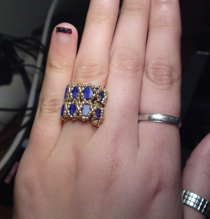 Caterpillar Ring with Tila beads Beading Tutorial by HoneyBeads (Video tutorial)