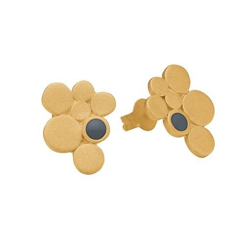 Stud, 7 circles, dark grey, gold plated sterling silver