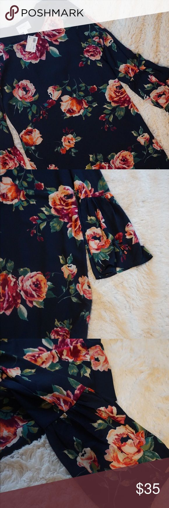 NWT Everly Navy floral dress NWT Everly Navy floral dress size large Everly Dresses Mini
