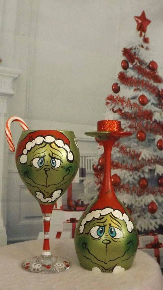 Hand painted Grinch Wine glass Christmas by TheMuseCreations