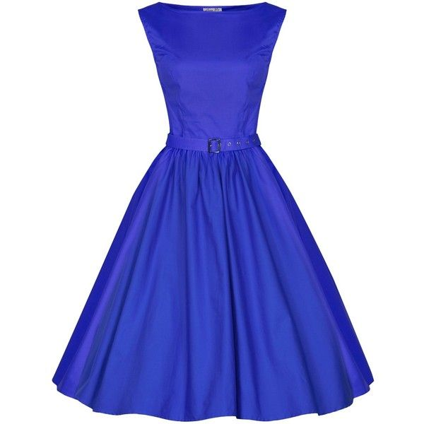 Lindy Bop 'Audrey' Vintage Style 1950's Pastel Rockabilly Swing Dress (€23) ❤ liked on Polyvore featuring dresses, blue, 1950s, vintage style dresses, trapeze dress, pastel cocktail dresses, rockabilly swing dress and pastel dress