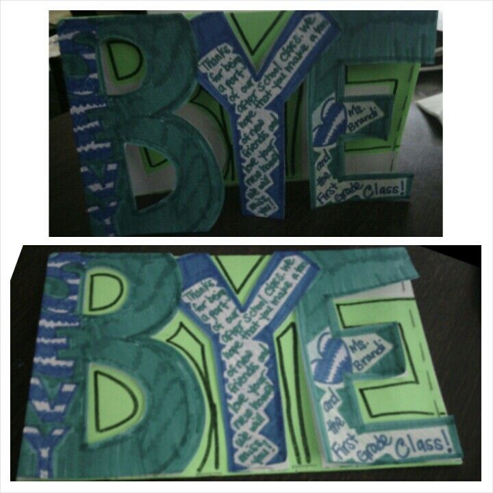 Saying goodbye to a classmate is always hard so why not send them off with something for them to remember us by, cutout good bye card signed by all students.