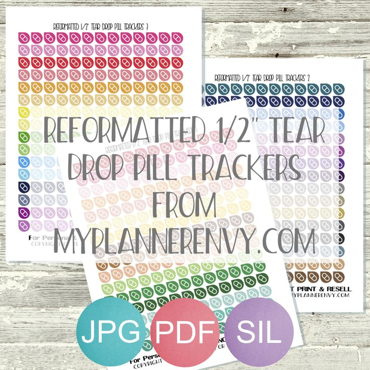 """Reformatted Free Printable 1/2"""" Tear Drop Pill Trackers from myplannerenvy.com"""