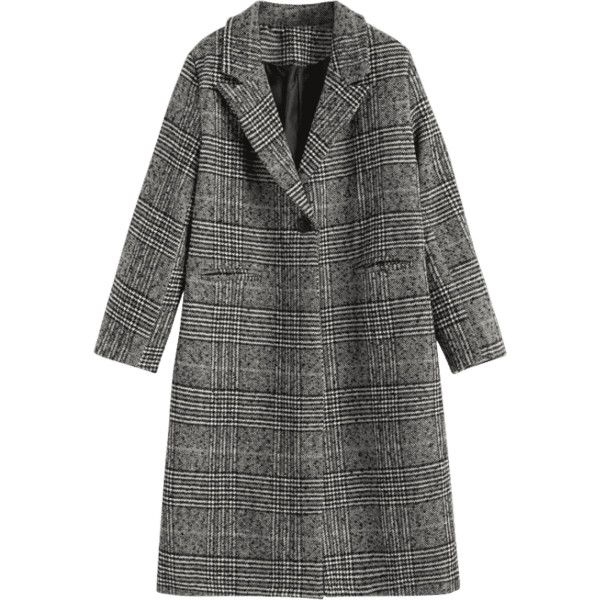 Back Slit One Button Checked Coat (¥4,955) ❤ liked on Polyvore featuring outerwear, coats, zaful, checked coat, checkered coat and one button coat