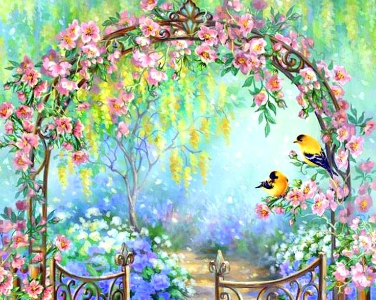41 best images about spring is in the air on pinterest for Pretty flower paintings