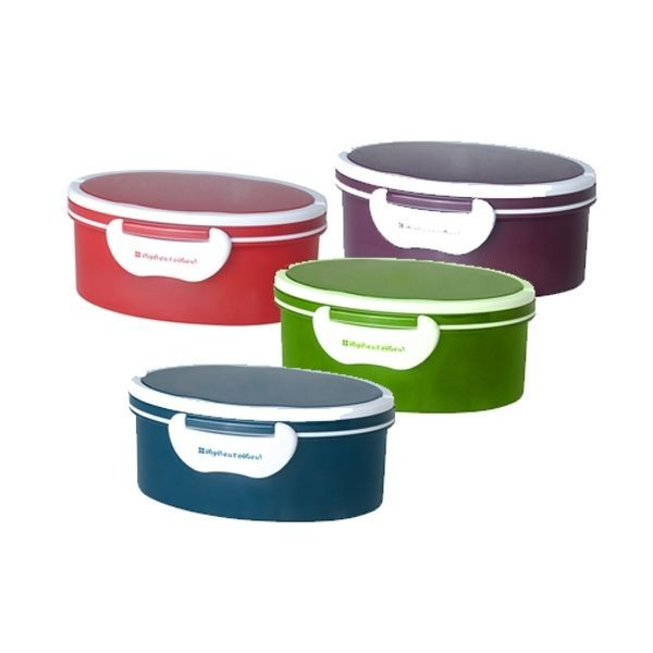 Mulberry Oval Round Bento Box with Handles Japanese To-Go Lunch Box Container