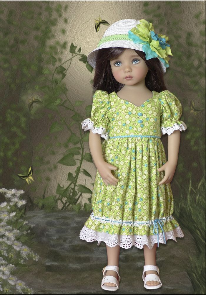 Charming Josephine Doll Dress and Straw Hat for Effner 13 Little Darling Dolls...