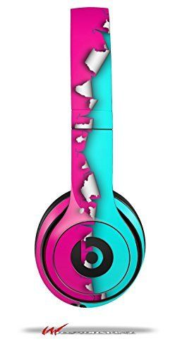Ripped Colors Hot Pink Neon Teal - Decal Style Skin fits genuine Beats Solo 2 Headphones (HEADPHONES NOT INCLUDED), http://www.amazon.com/dp/B00KUDPS7W/ref=cm_sw_r_pi_awdm_rX8Cub0D6KFBP