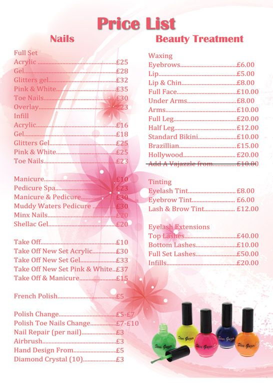 Apple nails in conroe price list price list nail art pinterest salon ideas nail for Nail price list template