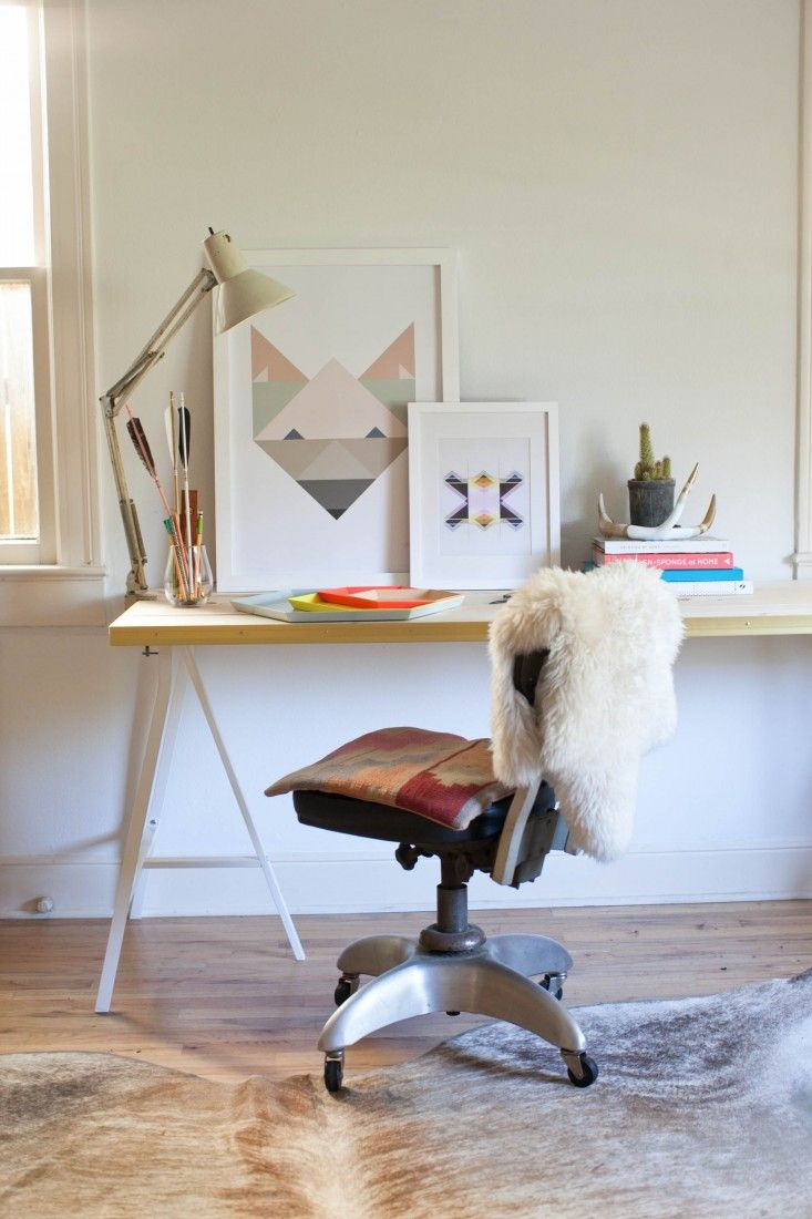 Camille Styles DIY Gilded Edge Desk by Claire Zinnecker | Remodelista